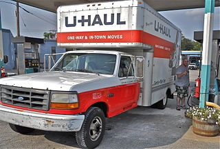 U-Haul van being refueled.Photo by Mikescottwood11