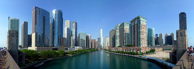 The Chicago River is the south border of the Near North Side and Streeterville and the north border of the New Eastside (viewed from Lake Shore Drive. Photo by lickr user mindfrieze